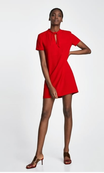 46a63100fe5 Zara Woman Red Dress With Bow Mini